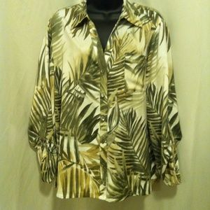 CHICO'S Womens Leaf Print 3/4 Sleeve Blouse Size 3